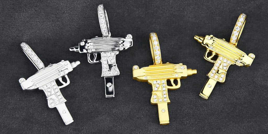 affordable gun pendant necklace hip hop chain