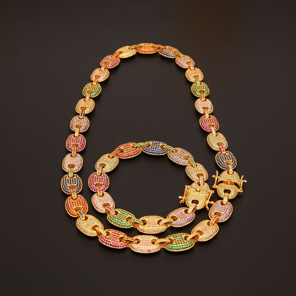 Iced out gucci link single row 13mm necklace/bracelet chain multicolored