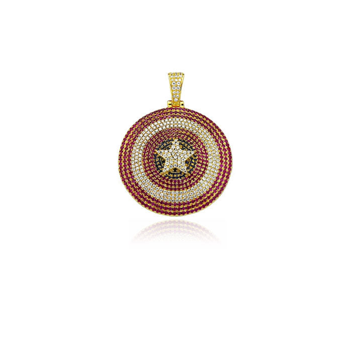 Captain America shield pendant necklace chain ifandco diamond