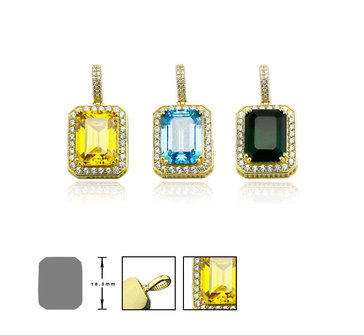 gemstone canary pendant necklace chain ifandco affordable hip hop jewelry