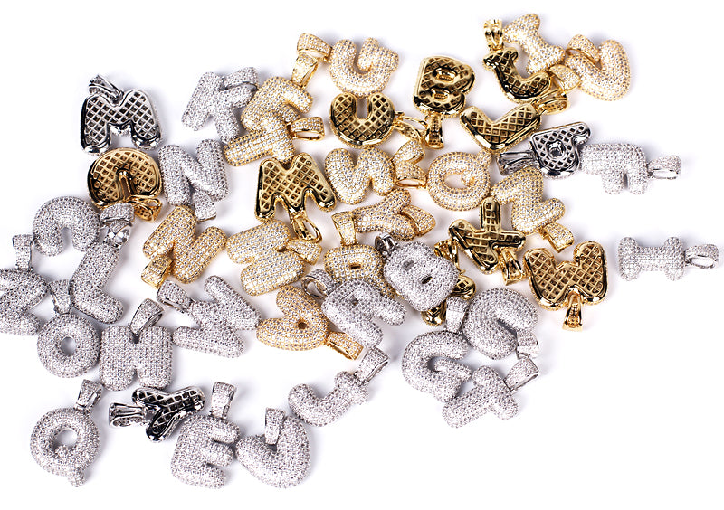 Custom Bubble Letters Initial 14k Gold Finish A-Z Alphabet Full Iced Out