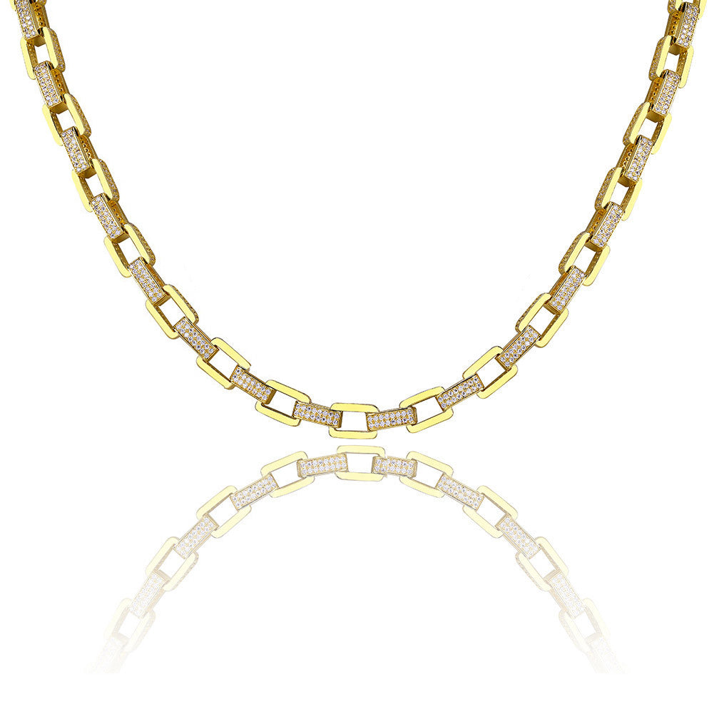 hermes link drake diamond necklace chain iced out shopgld