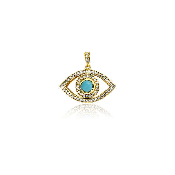 Evil eye pendant necklace chain Gold