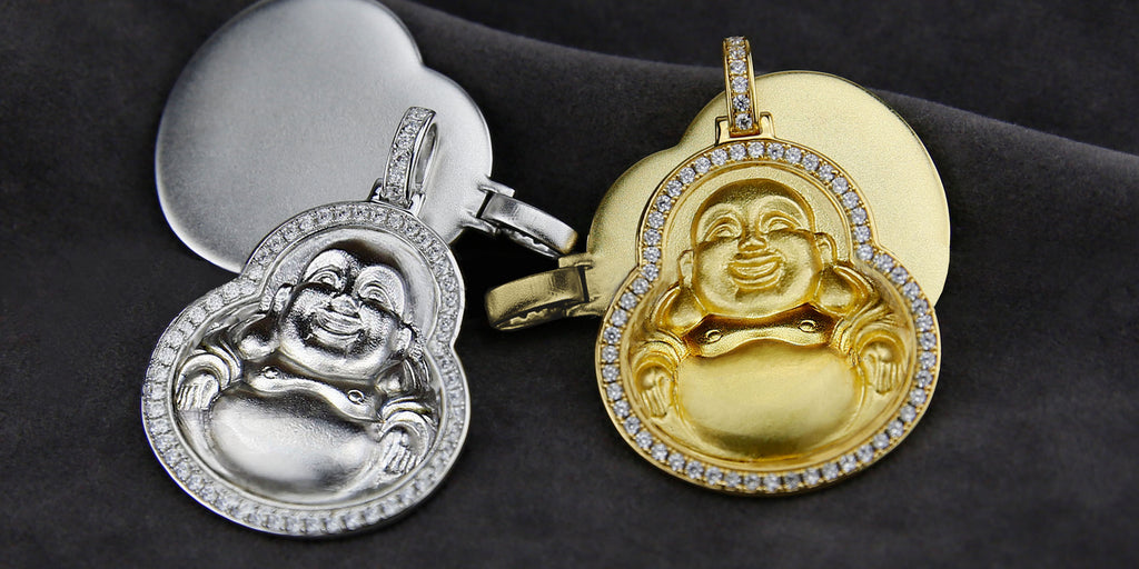 Micro laughing buddha pendant with iced border matte silver micro laughing buddha ben baller aloadofball Image collections