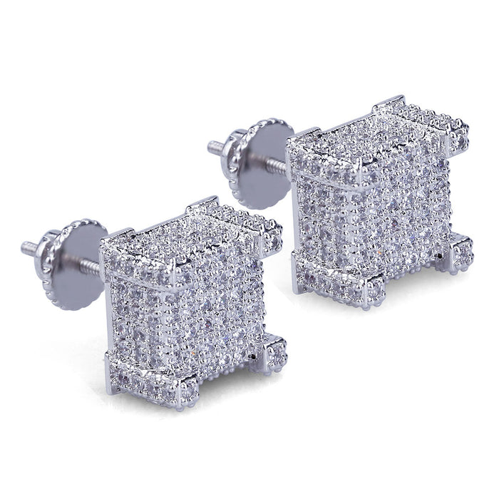 affordable hip hop jewelry bling diamond vvs micro pave earrings
