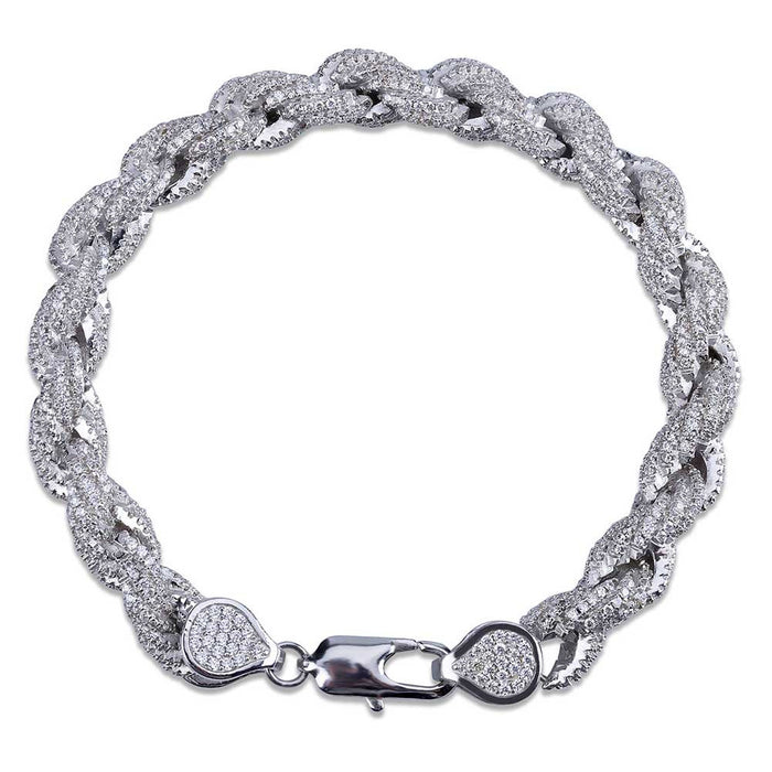 Iced Out Rope link Bracelet 8mm