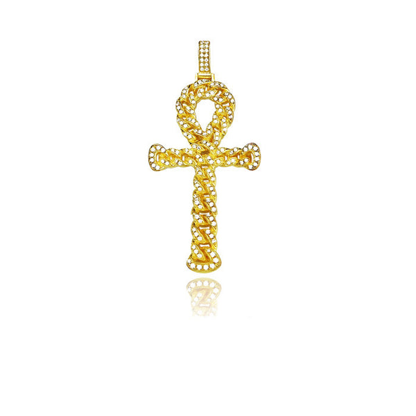 ankh interlaced chain gold pendant