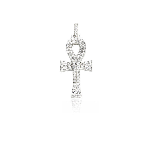 Ankh bold pendant large silver white diamonds