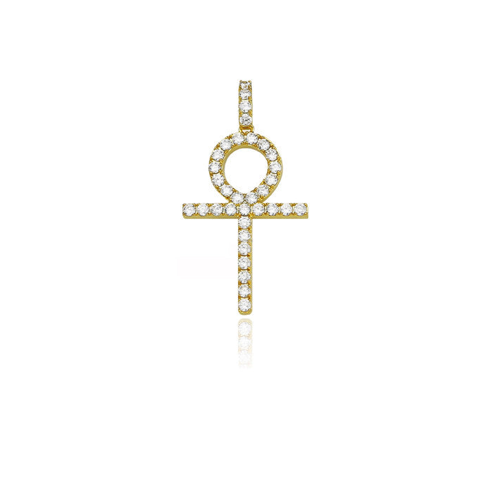 ankh large gold pendant single round diamonds