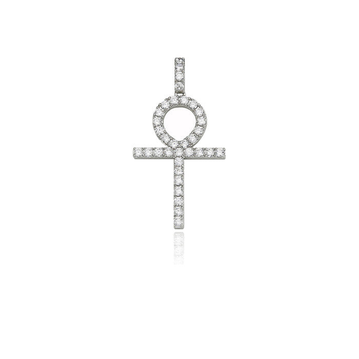 ankh large silver pendant single round diamonds
