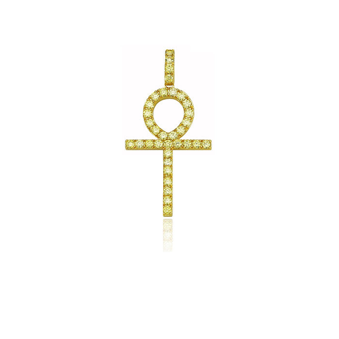 ankh large full yellow pendant single round diamonds