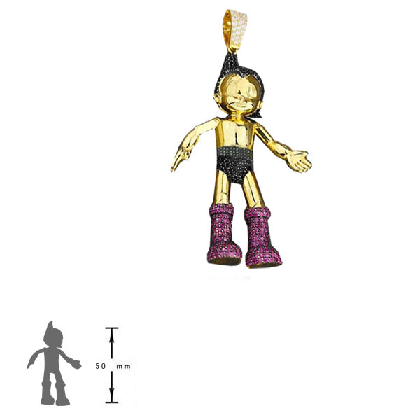 astro boy travis scott in diamond and gold pendant necklace chain custom ifandco