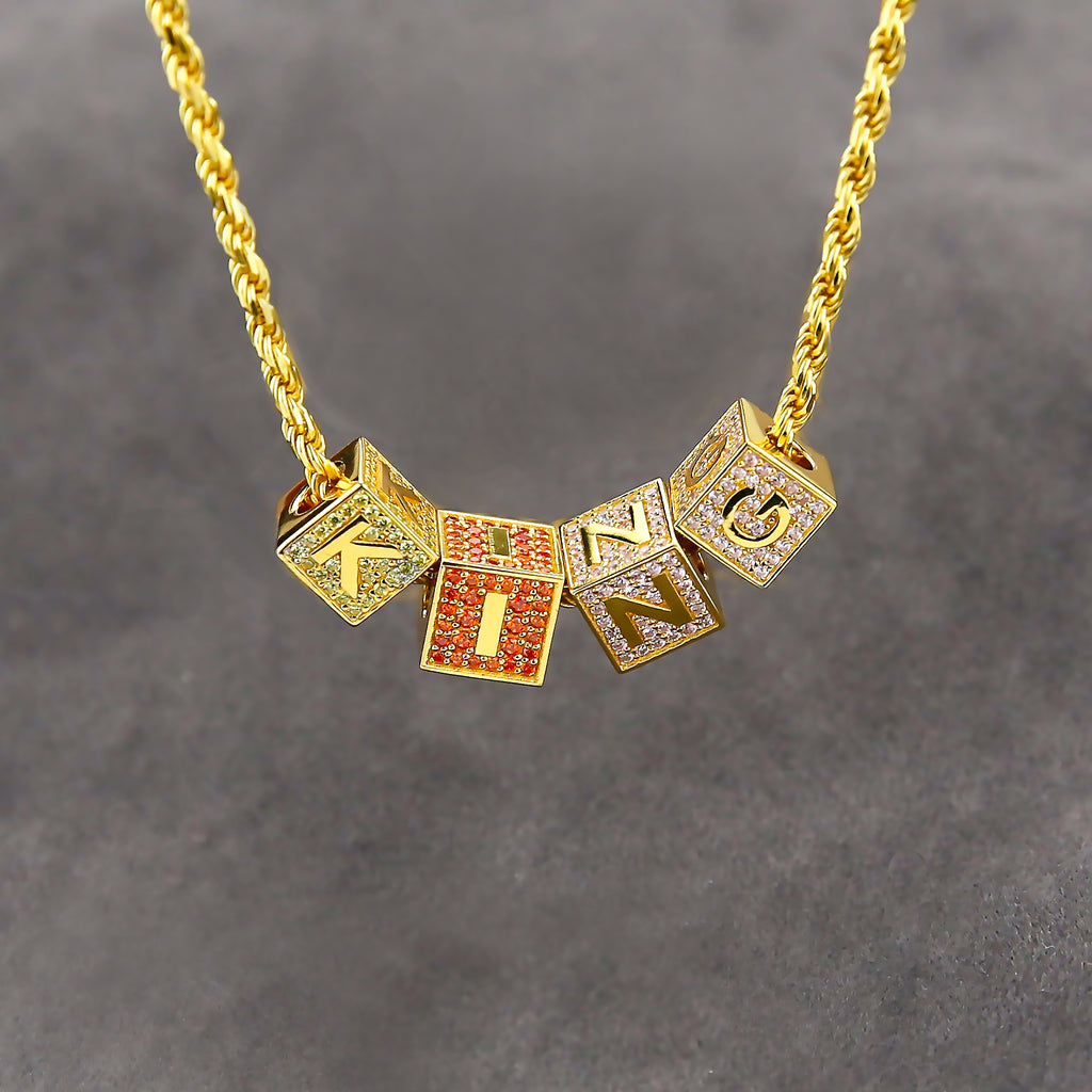 18k gold Solid Baby blocks letter pendant necklace chain ifandco diamond