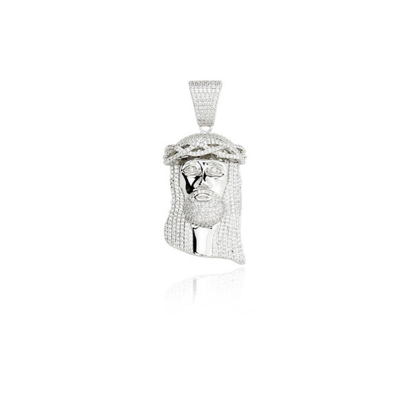 baby jesus fully iced pendant silver