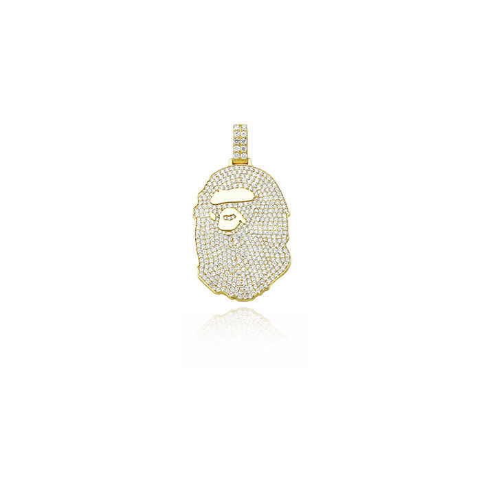 Custom diamond Bape pendant Necklace bape neckalce, diamond ape, diamond bape, iced out ape