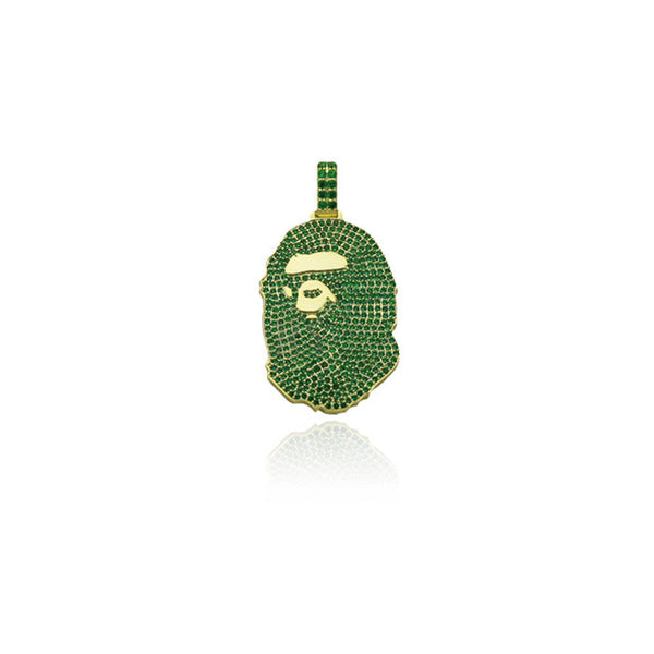 bathing ape bape green camo pendant gold