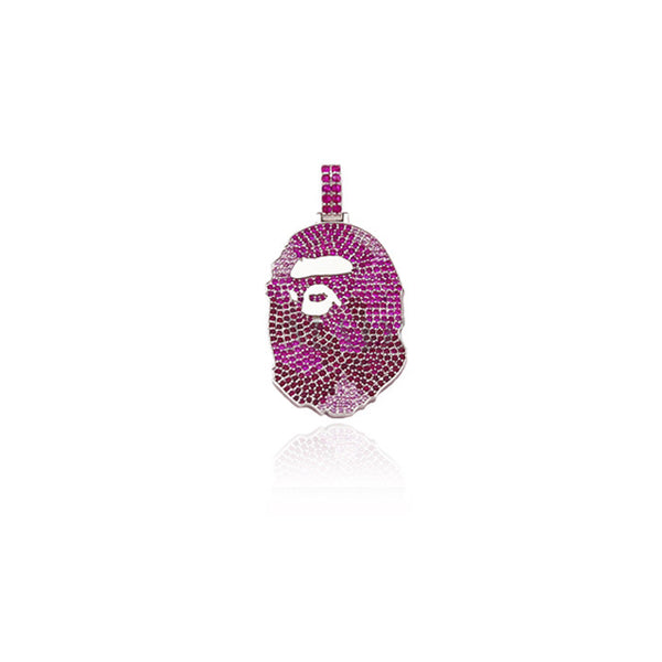 Bape necklace pendant with free chain in pink camo diamond