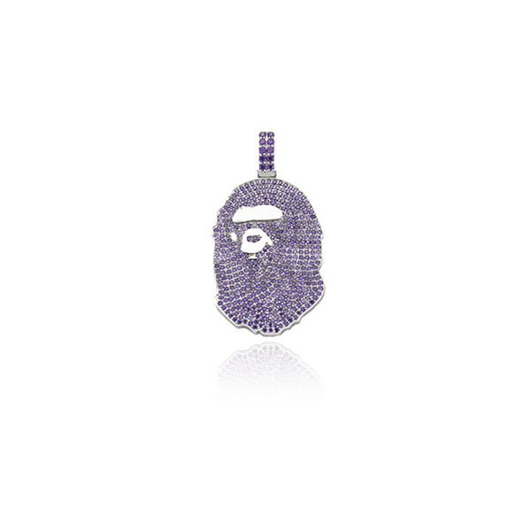bathing ape bape head purple silver pendant