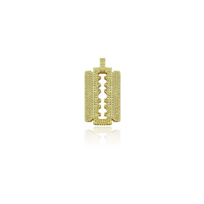 Razor Blade pendant in gold with yellow diamonds