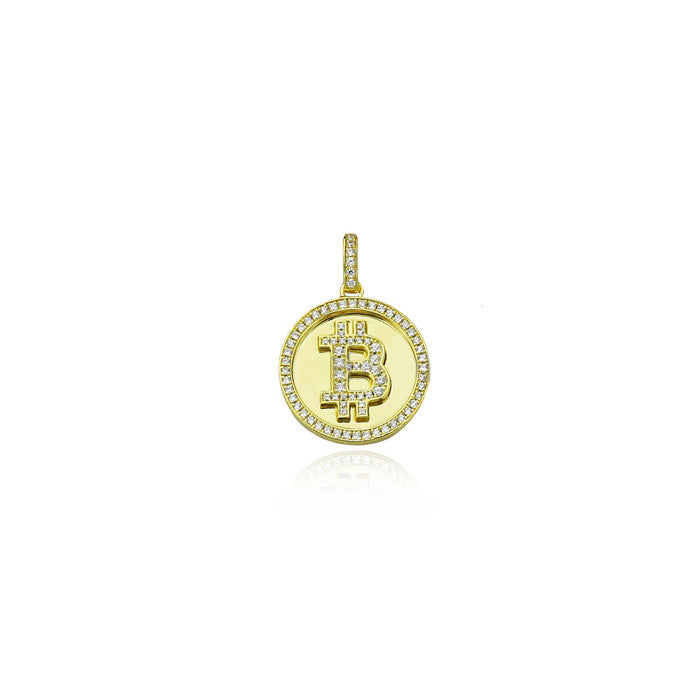 Bitcoin pendant gold with diamonds