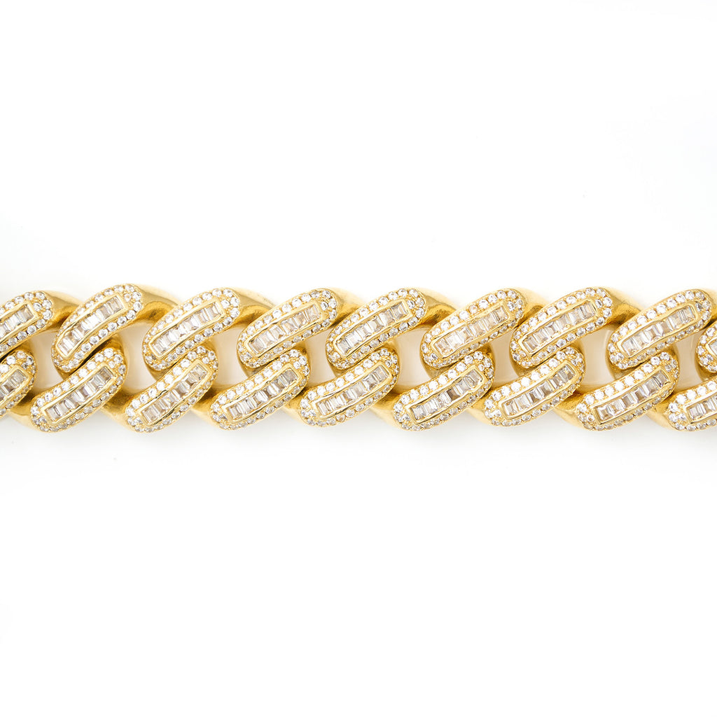 Iced Out Cuban Link Bracelet With Baguette Stones