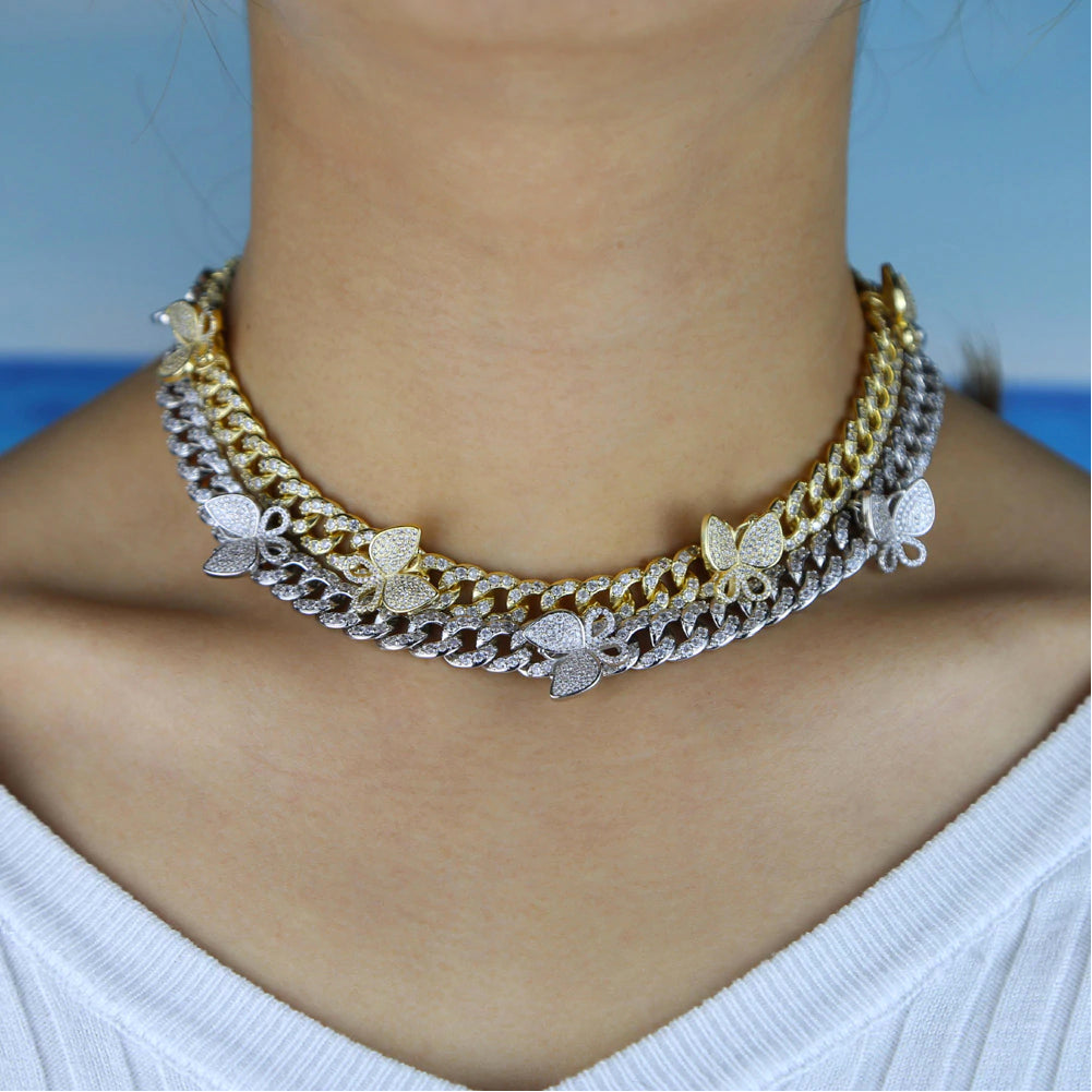 12mm miami cuban link butterfly choker diamond kylie jenner stormi playboi carti