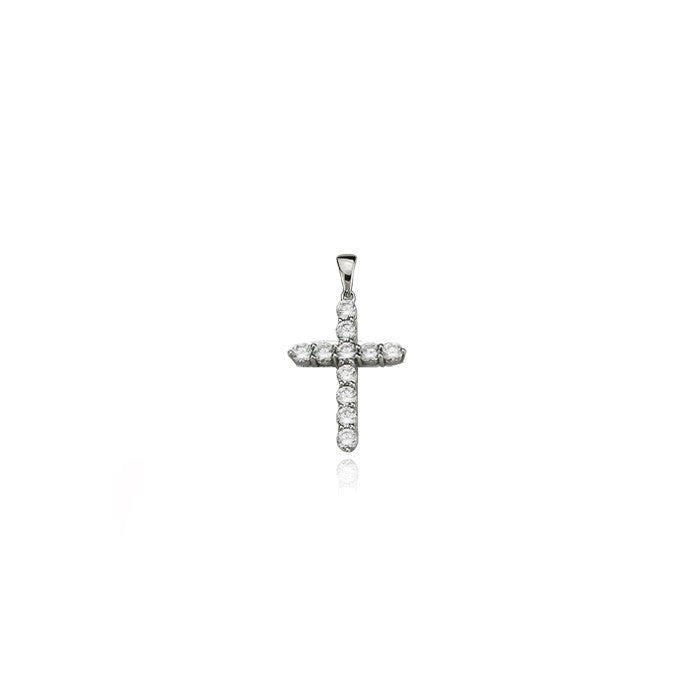 cross mini dami pendant diamonds silver