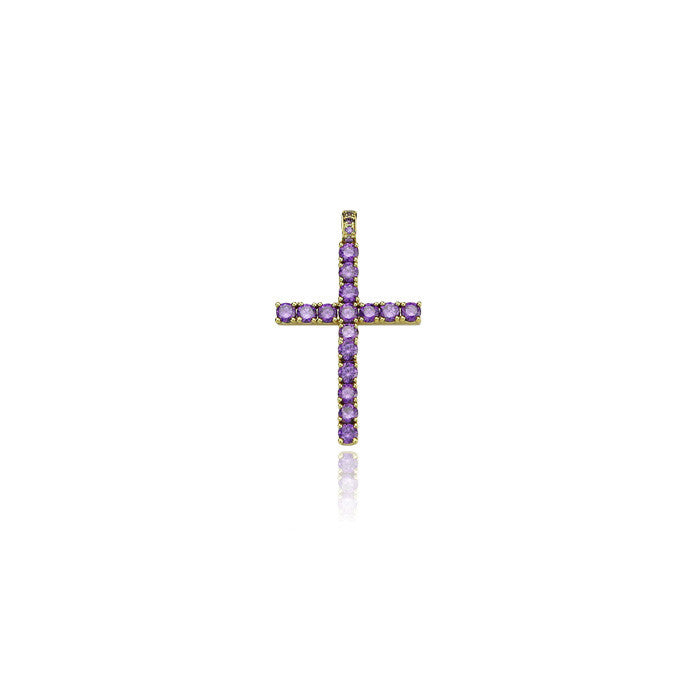 dami cross pendant purple large