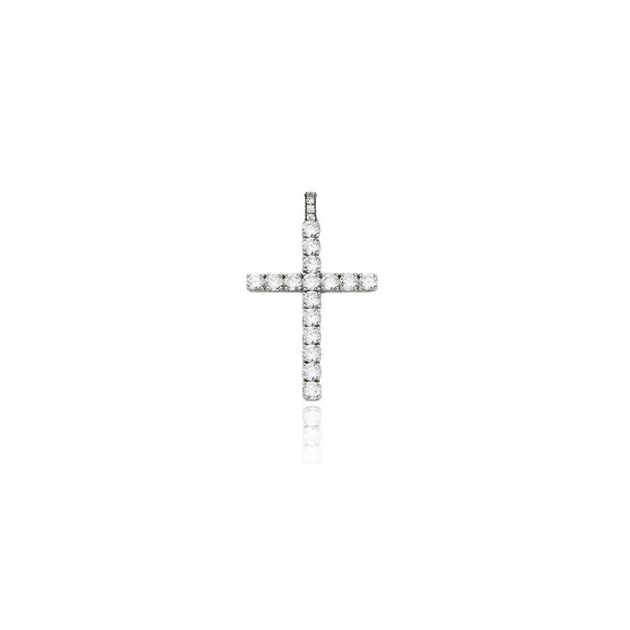dami cross pendant large silver diamonds