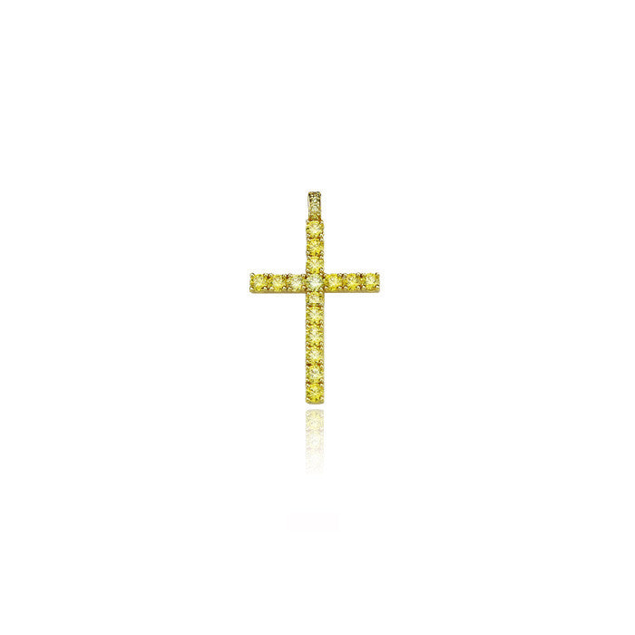 dami cross large pendant yellow diamonds gold