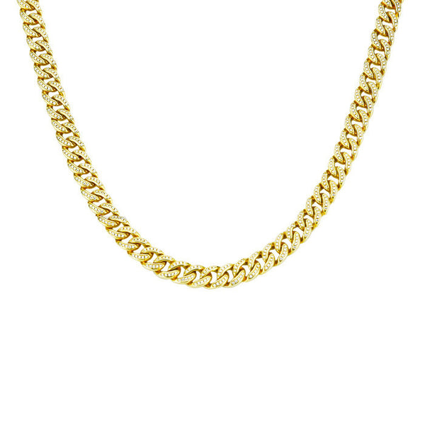 cuban link chain fully iced gold