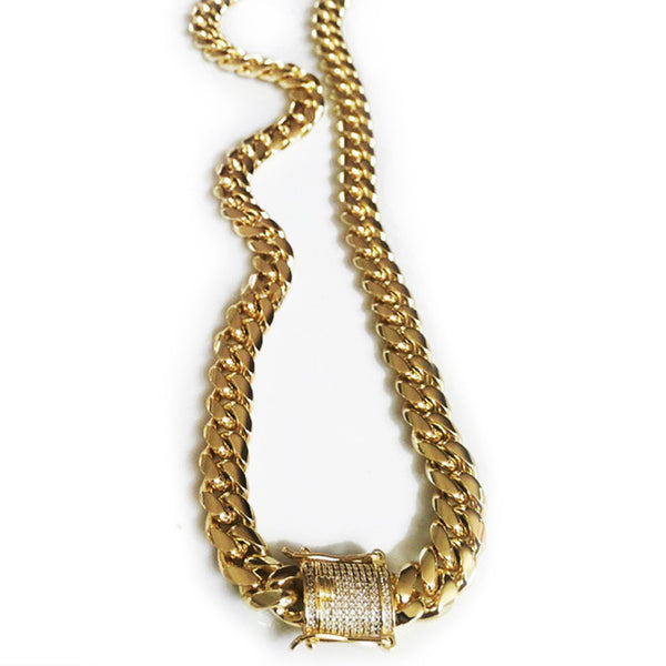 Cuban link chain necklace with fully iced custom clasp