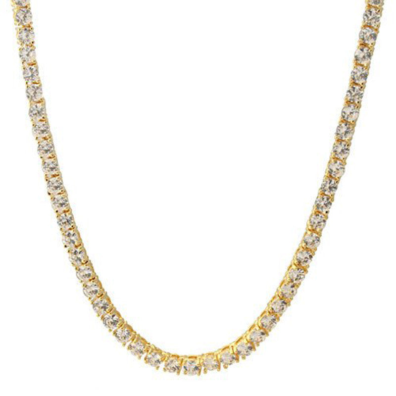 Tennis necklace diamond link chain gold