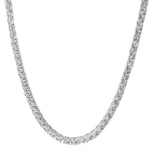 Tennis necklace diamond link chain silver