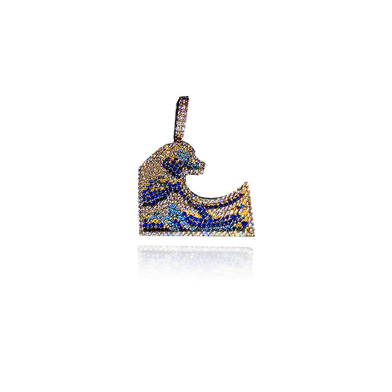 emoji wavey iphone facebook wave pendant necklace chain ifandco custom vvs diamond