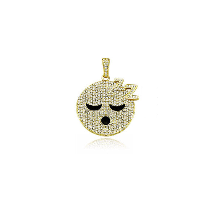 emoji sleepy pendant gold