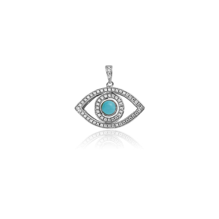 Evil eye pendant necklace chain silver