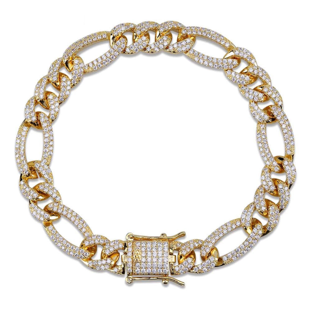 10mm Iced out Figaro chain Yellow gold cuban link chain bracelet necklace ifandco shopgld