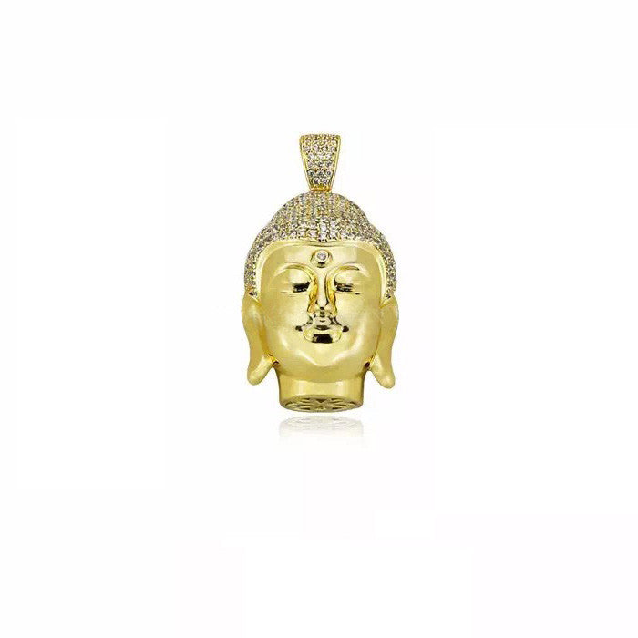 Buddha 3D head pendant gold