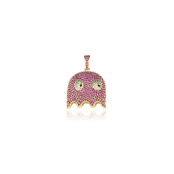 ghost blinky gold pendant diamonds