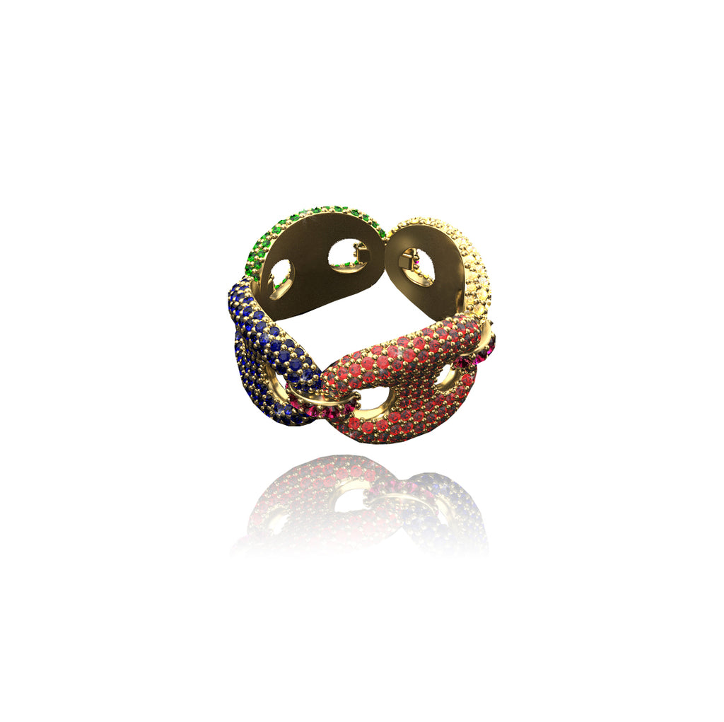 Custom iced out Gucci link ring in multicolored 13mm – Bijouterie Gonin