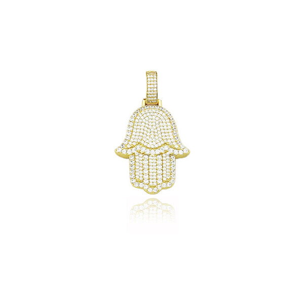 hamsa hand pendant in gold fully iced