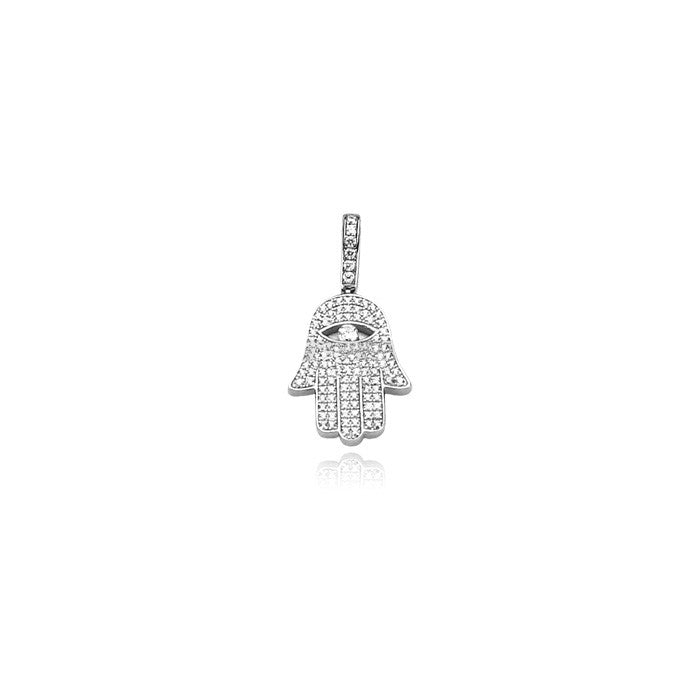 Hamsa hand mini silver pendant necklace diamonds