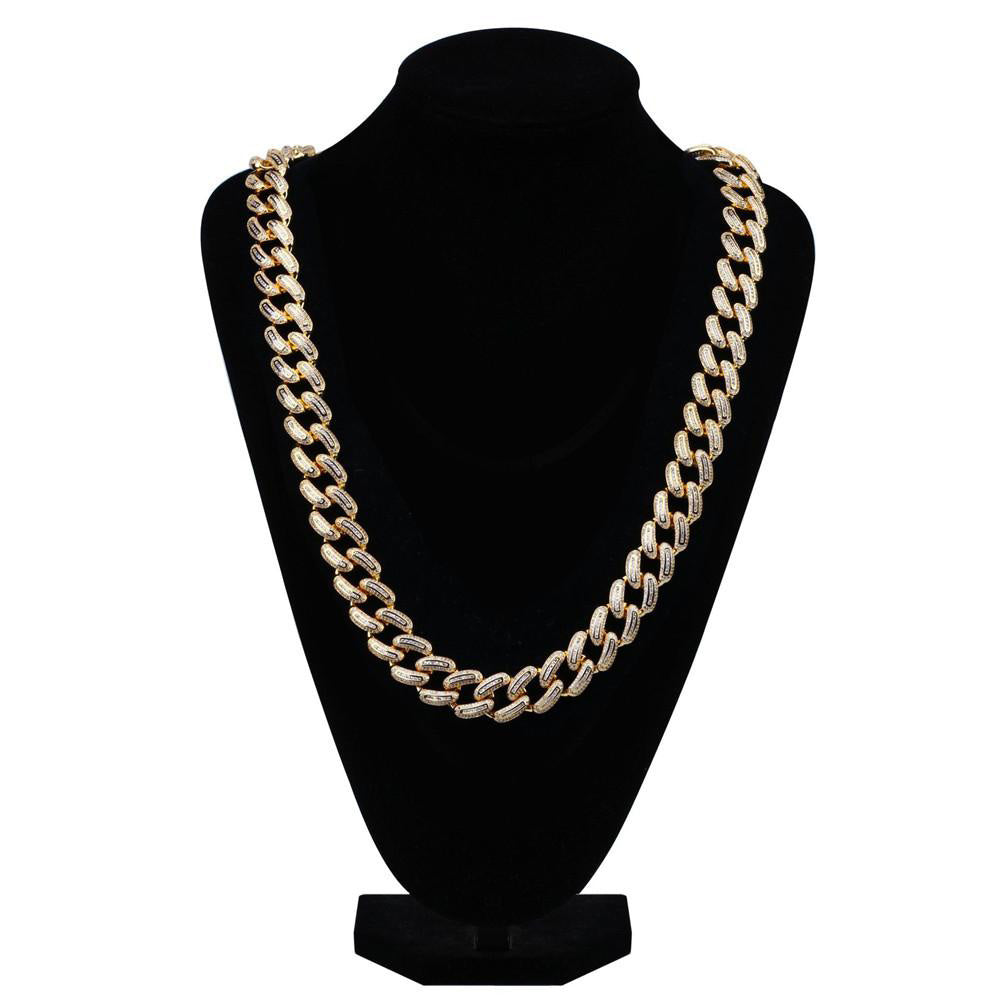 Hip Hop Jewelry 14K Gold 925 Silver Plated Iced out VVSMiami Baguette Cuban Chain Necklace for Men affordable shopgld