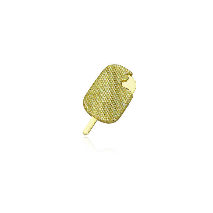 Icecream bar fully iced pendant yellow gold