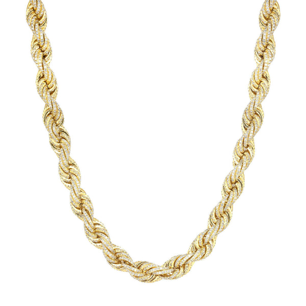 Iced Out Rope Chain 11mm 18k gold