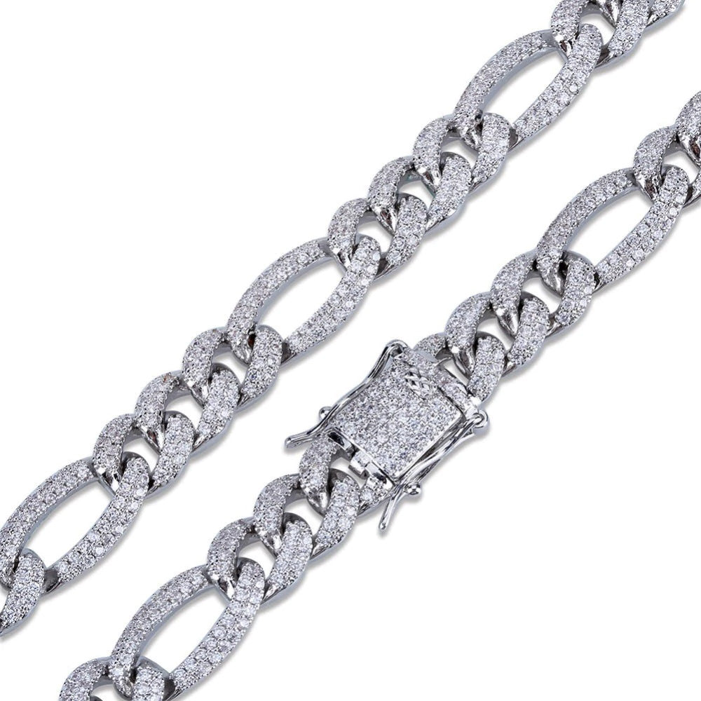 10mm Iced out Figaro chain White gold cuban link chain ifandco shopgld