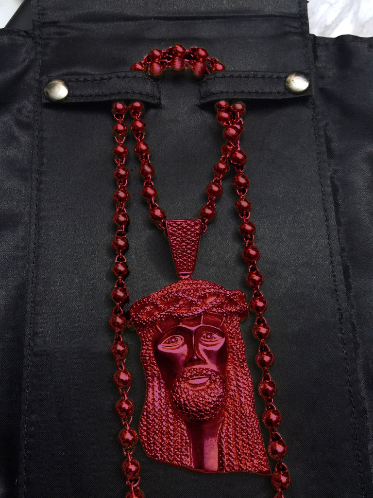 Standard jesus piece yeezy red beaded chain