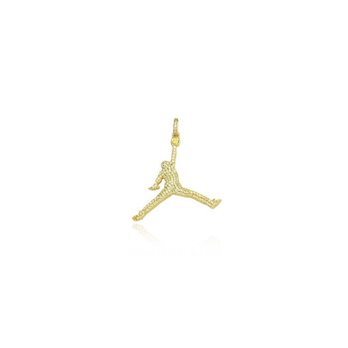 Jumpman jordan pendant gold yellow iced diamonds necklace