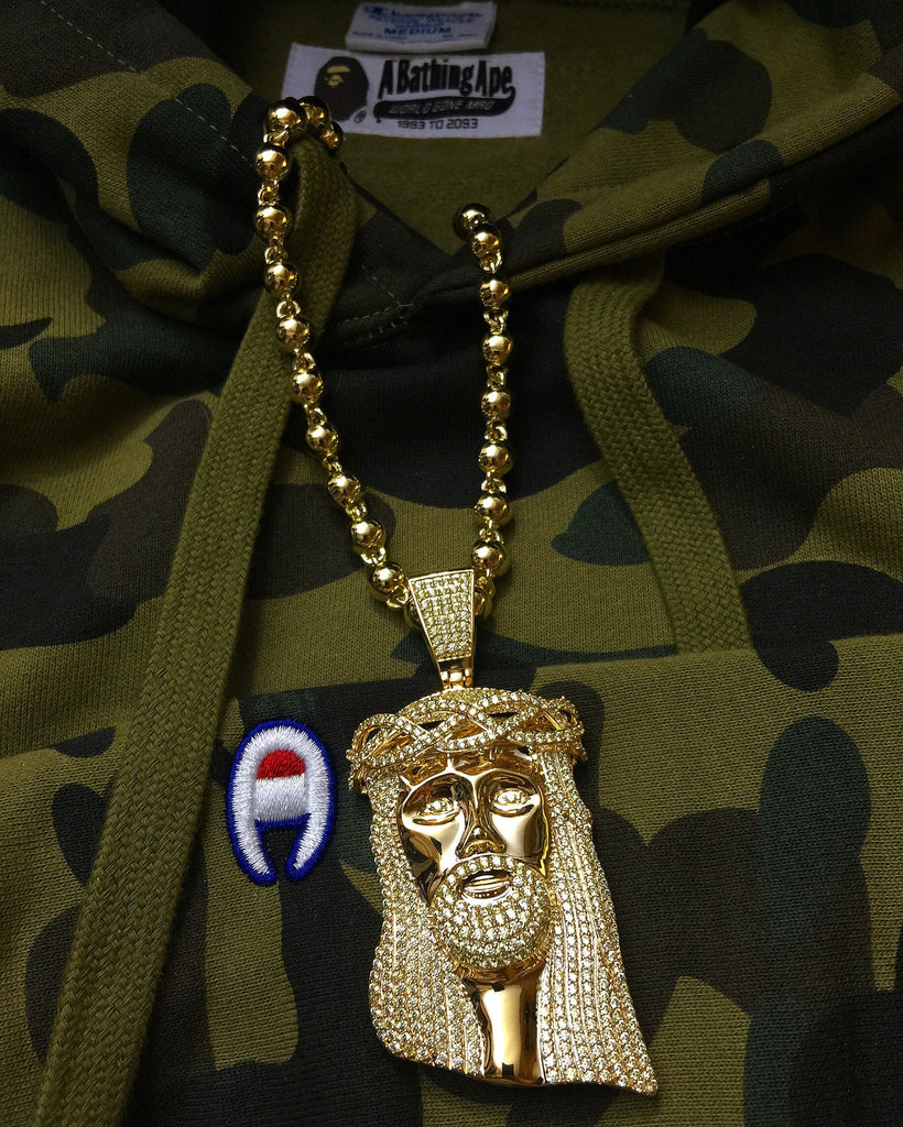Standard jesus piece lemonade yellow gold with bape champion hoodie
